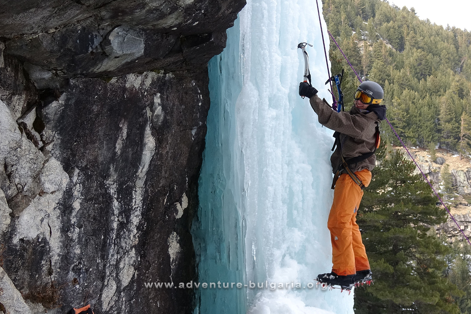 Ice climbing at the waterfall Little Skakavitsa, Rila mountain, Bulgaria