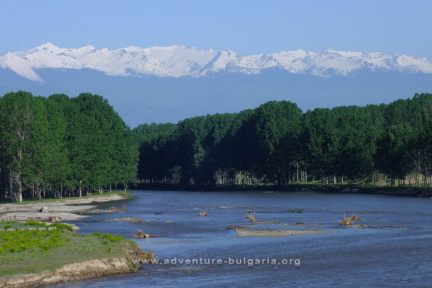 The Mesta River and the snow peaks of the Pirin Mountains, Bulgaria