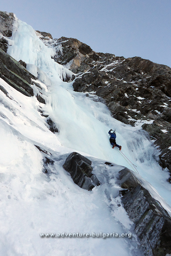 Ice climbing in Rila mountain.
