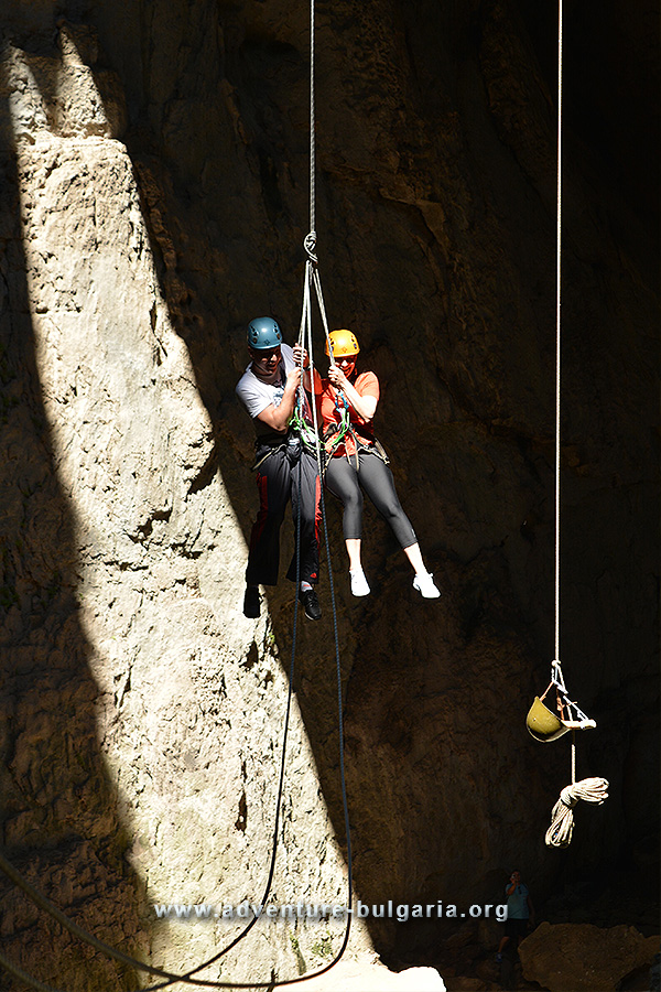 Abseiling in Prohodna cave, Bulgaria