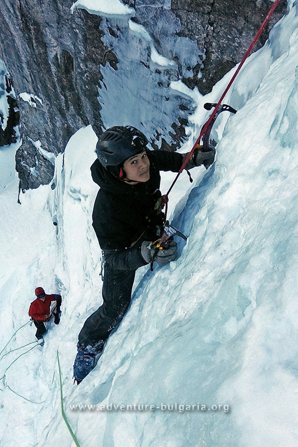 Ice climbing on Skakavitsa waterfall, Rila mountain, Bulgaria