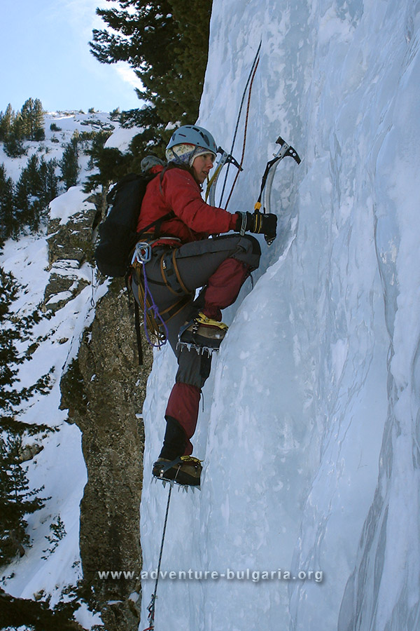Ice climbing training near Sofia