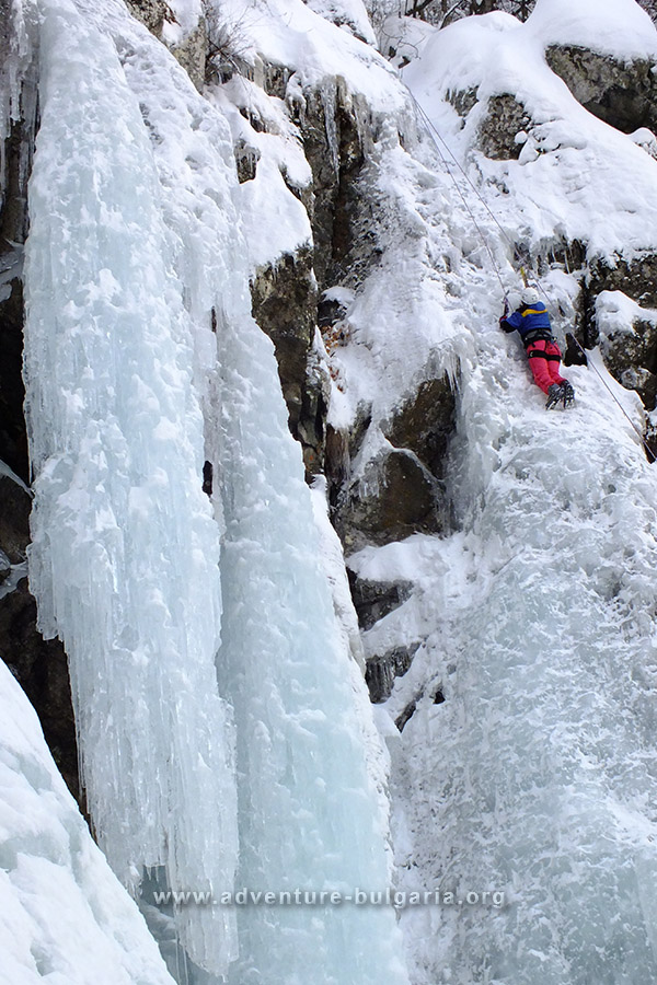 Ice climbing on Boyana waterfall, Vitosha mountain, Bulgaria