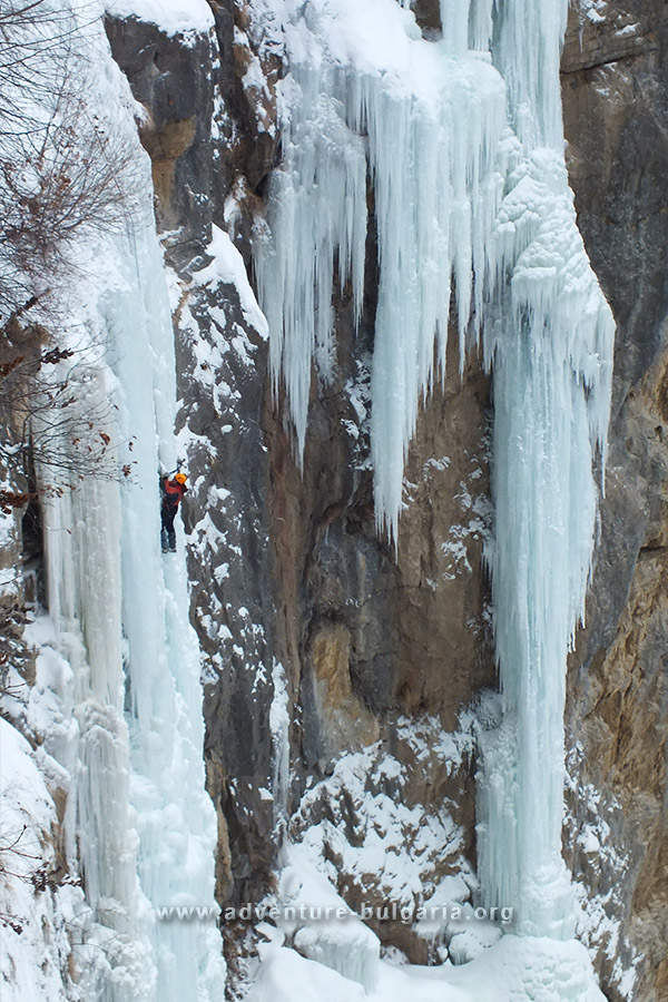 Ice climbing in Iskar gorge, Bulgaria