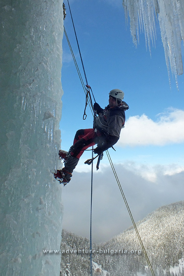 Ice climbing and rappelling in Rila mountain, Bulgaria