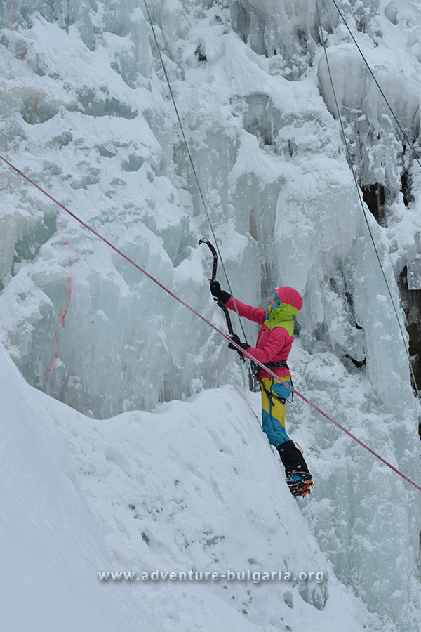 Ice climbing on Boyana Falls