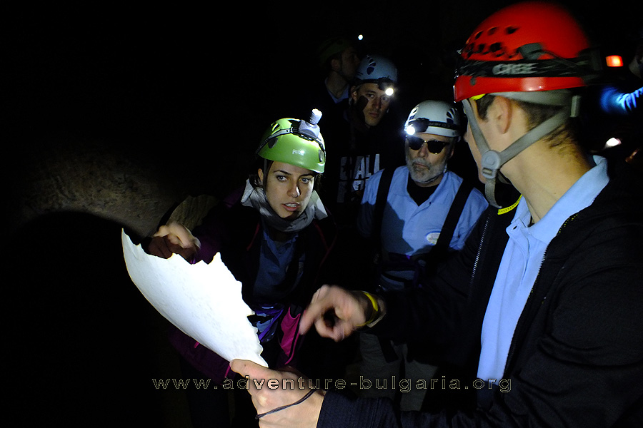 Team Building into the cave in Bulgaria.