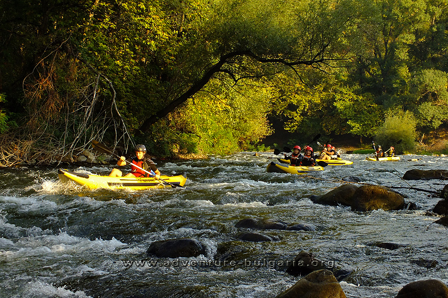 Kayaking in Kresna gorge, Struma River, Bulgaria.