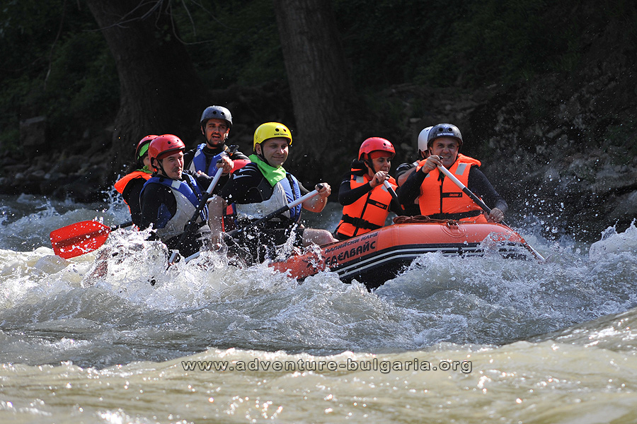 Team Building with rafting near Lakatnik rocks, Bulgaria.